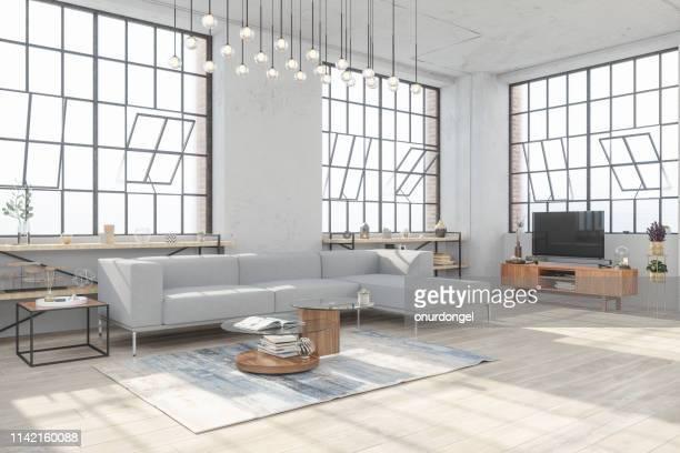 cozy living room interior - água parada imagens e fotografias de stock