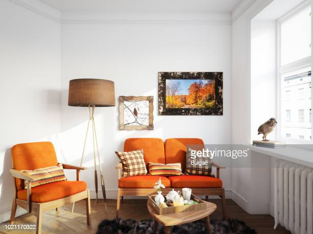 cozy living room - scandinavian home stock pictures, royalty-free photos & images