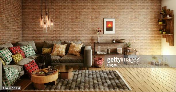 cozy living room - tartan stock pictures, royalty-free photos & images