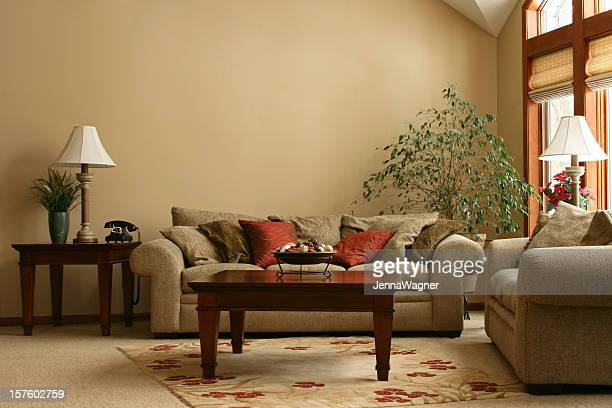 cozy living room - brown stock pictures, royalty-free photos & images