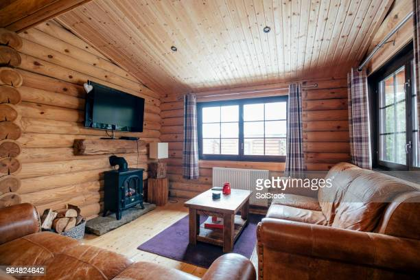 cozy living room - log cabin stock pictures, royalty-free photos & images