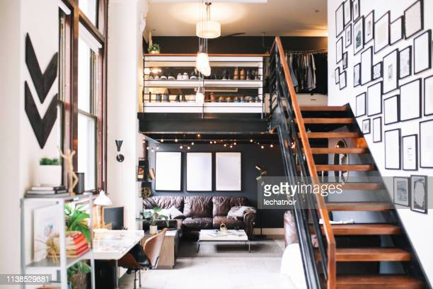 cozy loft apartment interior in downtown los angeles - steps stock pictures, royalty-free photos & images