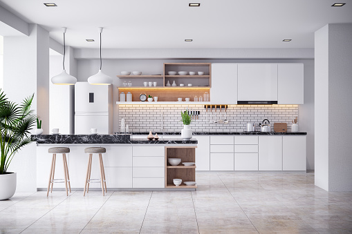 A Cozy Modern kitchen white room interior .3drender 1136936441