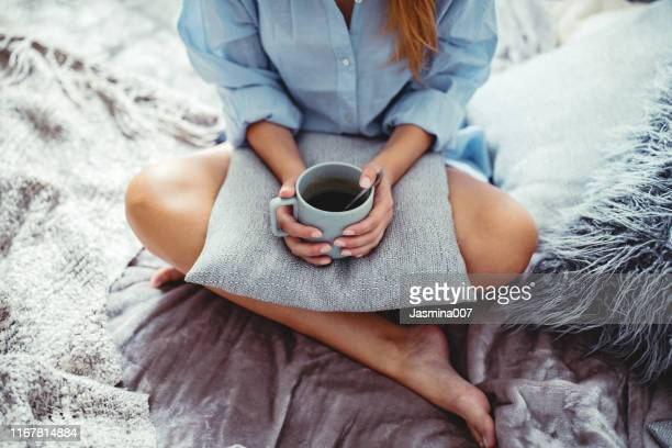 cozy morning with coffee in the bed - cosy stock pictures, royalty-free photos & images