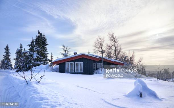 Cozy mountain cabin with deep snow and snowflakes in the air, Oppland County Norway