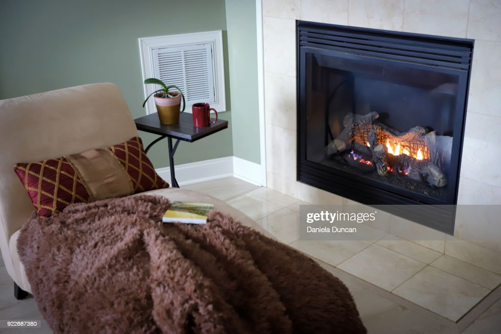 Cozy reading by the fireplace : Stock Photo