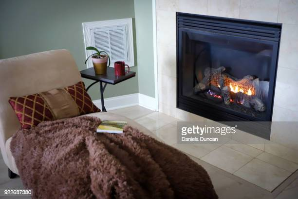 Cozy reading by the fireplace
