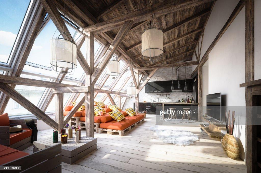 Gemütlichen skandinavischen Attic Loft Innenszene : Stock-Foto