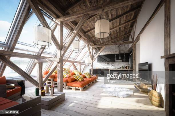 Cozy Scandinavian Attic Loft Interior Scene