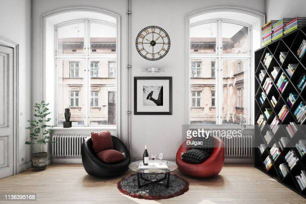 cozy scandinavian home interior - wall clock stock pictures, royalty-free photos & images