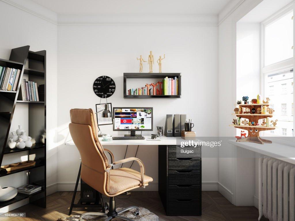 Cozy Scandinavian Style Home Office : Stock Photo