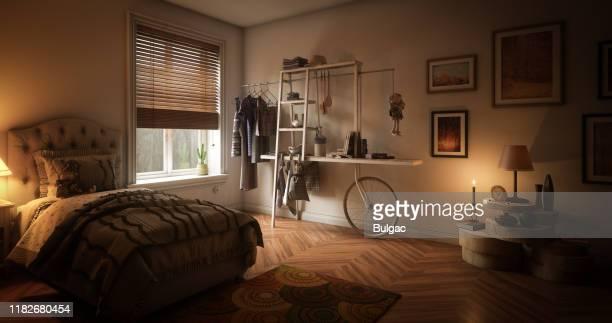quarto único acolhedor - quarto de dormir - fotografias e filmes do acervo