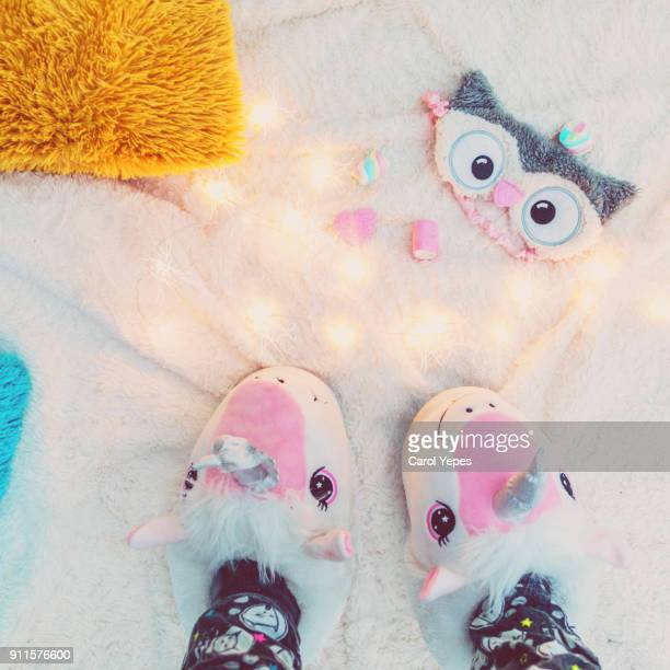 cozy slippers in the bedroom