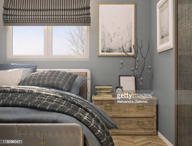 cozy tiny bedroom - bedroom stock pictures, royalty-free photos & images