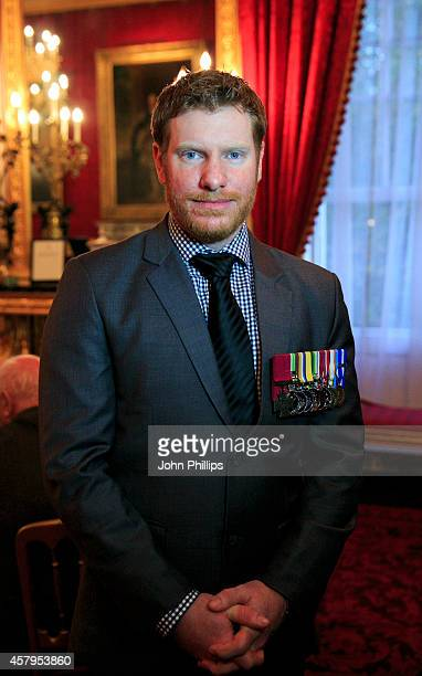 Cpl Daniel Keighran VC attends an afternoon tea reception for members of the Victoria Cross and George Cross Association Hosted by Prince Charles...