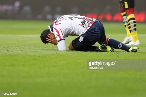 cr of Chivas reacts during a 14th round match between Chivas and Morelia as part of Torneo Apertura 2018 Liga MX at Akron Stadium on October 27 2018...