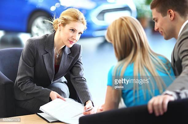 Cr sales representative talking to clients.