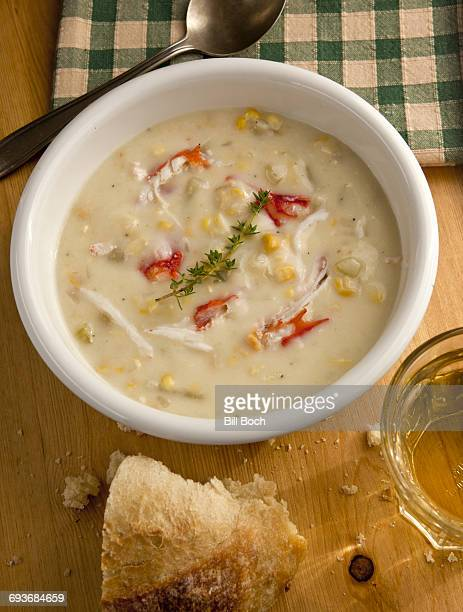 Crab and corn chowder with bread