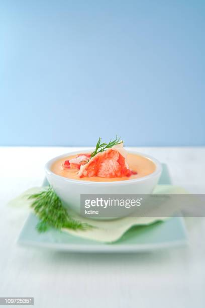 crab bisque soup on plate - alaskan king crab stock pictures, royalty-free photos & images
