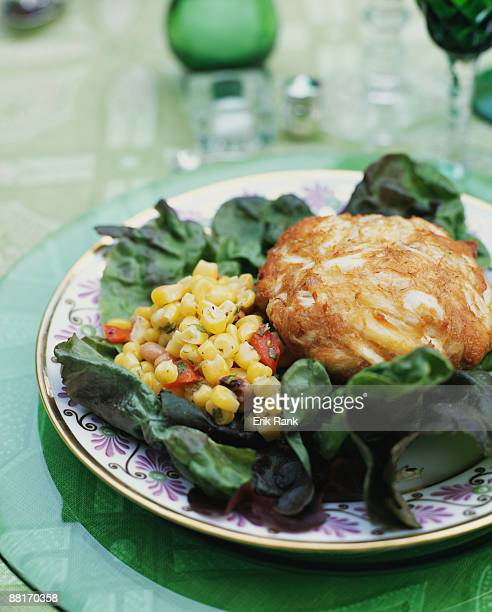 Crab cake and corn