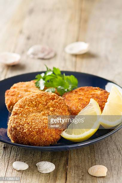 crab cakes - croquette stock photos and pictures