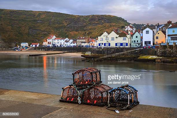 crab lobster pots, staithes, yorkshire, england - crab pot stock photos and pictures
