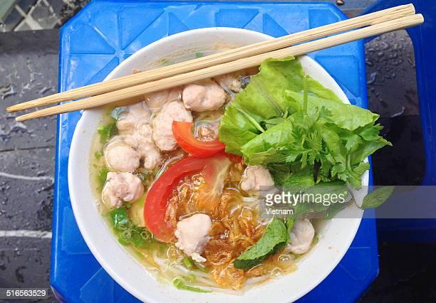 Crab, meatballs noodle soup