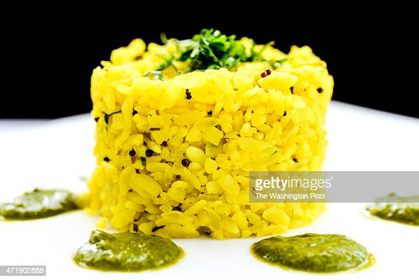 Crab Poha Pressed rice mustard seeds curry leaves and coconut chutney at Rasika West End