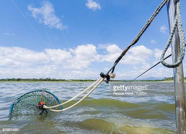 crab pot tied from pole in lake - crab pot stock photos and pictures