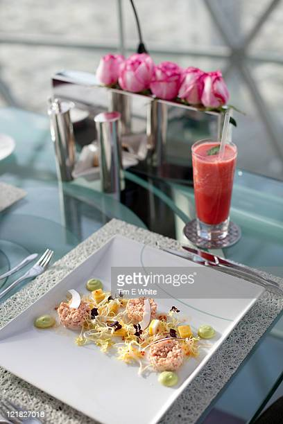 crab salad with coconut and avocado, al faisaliah (globe) tower, riyadh, saudi arabia - coconut crab stock pictures, royalty-free photos & images