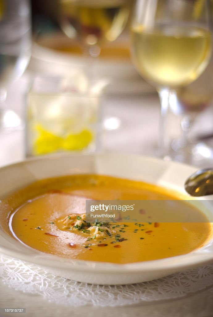 Crab Seafood Atop Pepper & Tomato Bisque & Restaurant Vegetable Soup & Wine : Stock Photo