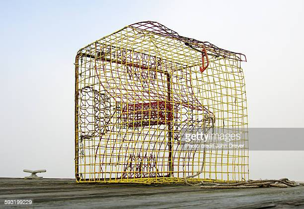 crab trap on dock in fog - crab pot stock photos and pictures