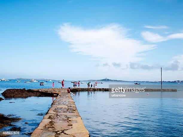 pescando granchi a portelet porto, isola di guernsey - isola di guernsey foto e immagini stock