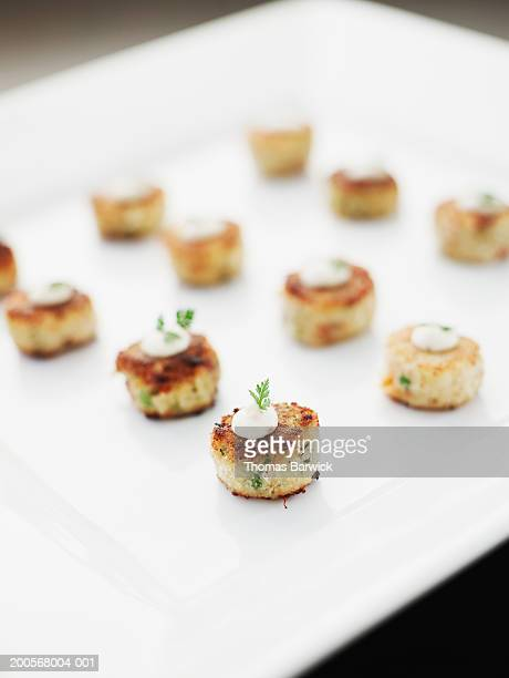 crabcakes with jalapeno mayonnaise, close-up - chilli crab stock photos and pictures