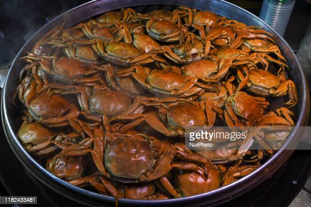 Crabs on display in Zhongshan Snack Street the biggest night food market in Nanning the capital city of Guangxi with hundreds people passing by every...