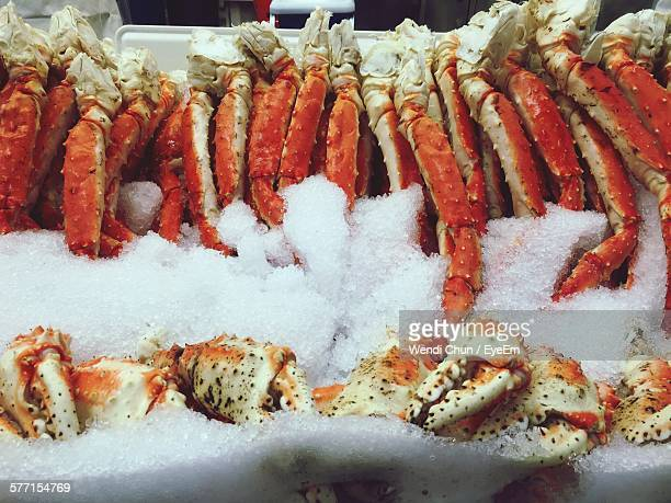 Crabs Stored On Ice For Sale At Fish Market