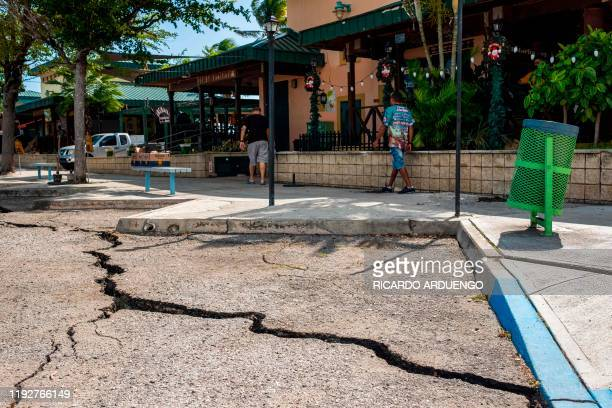 A crack caused by an earthquake is seen in La Guancha boardwalk in Ponce Puerto Rico on January 9 2020 Puerto Rico's governor declared a state of...