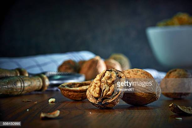 Cracked and whole walnuts