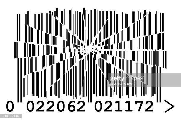 cracked barcode - strichkode stock-fotos und bilder