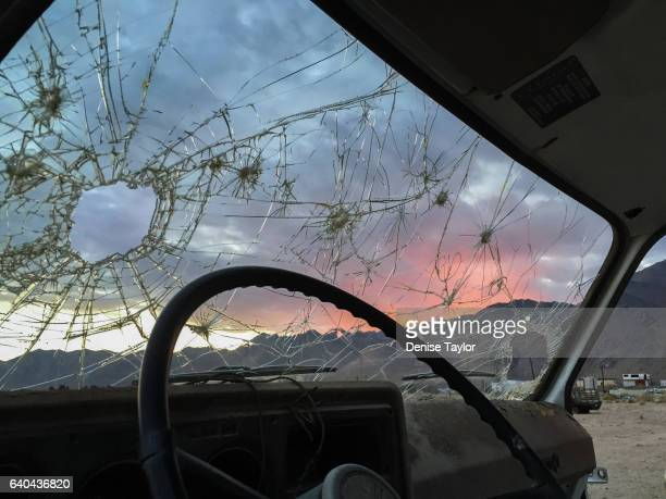 cracked car window inside looking out