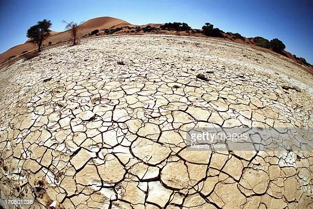 Cracked earth from dry desert conditions at Sossusvlei Namib Desert in Namibia