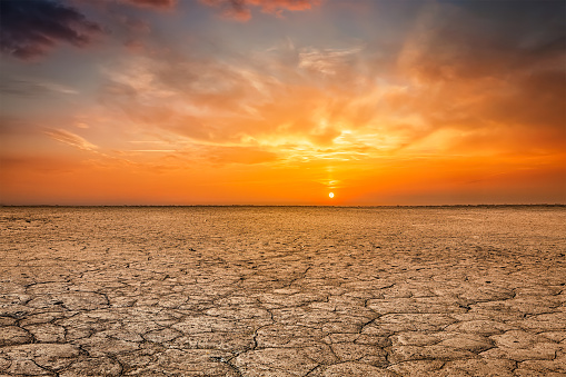 Cracked earth soil sunset landscape 856939024