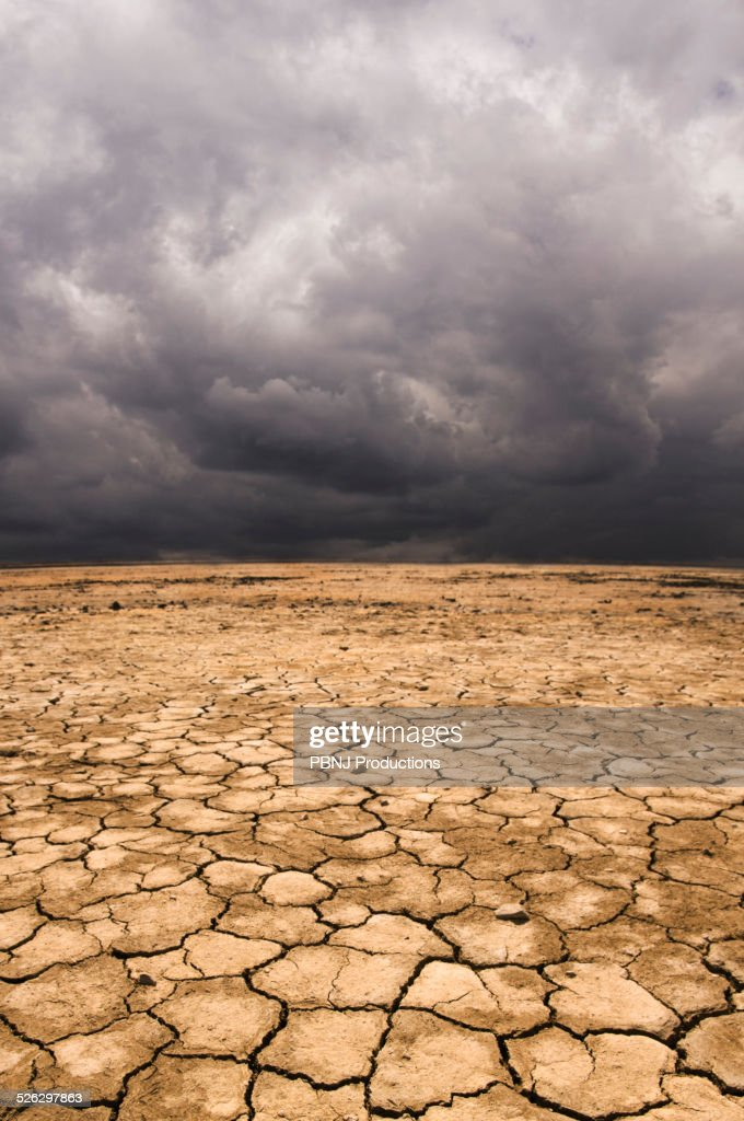 Cracked earth under cloudy sky in desert landscape : Stock Photo