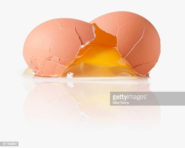 Cracked egg with a shattered yoke