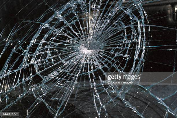 Cracked Glass Of Car Windshield
