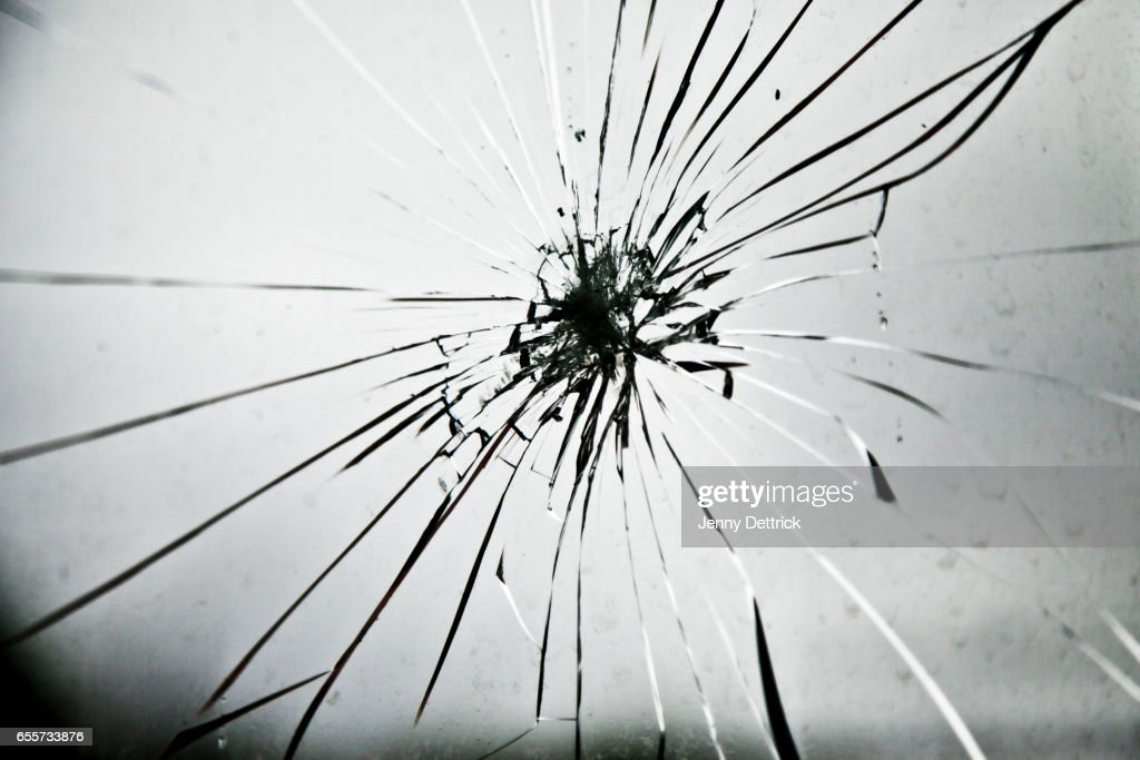 Cracked glass : Stock Photo