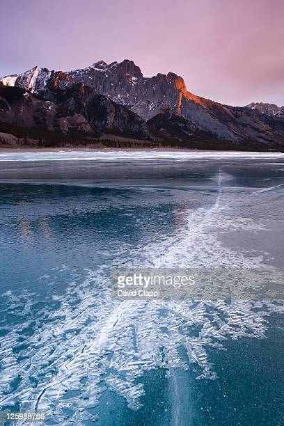 cracked ice patterns looking towards mount abraham at dawn on frozen glacial lake, abraham lake, canadian rockies, alberta, canada (16th february 2010) - land geografisches gebiet stock-fotos und bilder