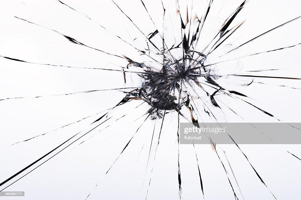 cracked laminated glass : Stock Photo