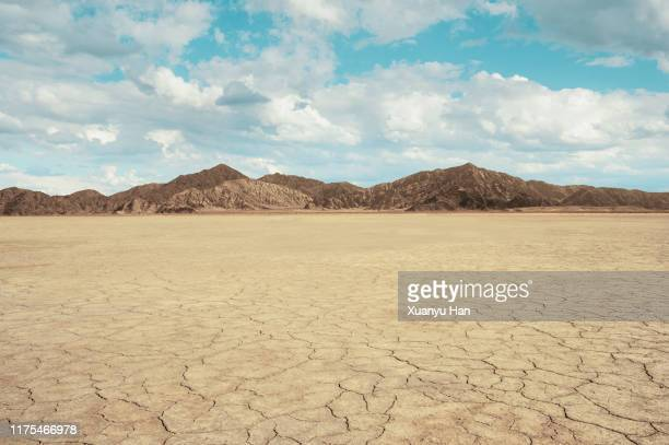 cracked land with arid mountains - horizon over land stockfoto's en -beelden
