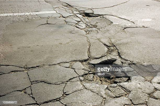Cracked Road Surface with Potholes